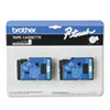 Brother P-Touch TC Tape Cartridges for P-Touch Labelers, 1/2w, Blue on White, 2/Pack