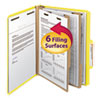 Smead Top Tab Classification Folders, Two Dividers, Six-Section, Yellow, 10/Box
