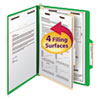 Smead Top Tab Classification Folder, One Divider, Four-Section, Letter, Green, 10/Box