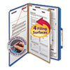 Smead Pressboard Classification Folders, Legal, Four-Section, Dark Blue, 10/Box