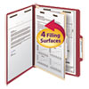 Smead Top Tab Classification Folder, One Divider, Four-Section, Red, 10/Box