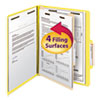 Smead Top Tab Classification Folder, One Divider, Four-Section, Yellow, 10/Box