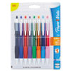 Paper Mate Roller Ball Stick Gel Pen, Assorted Ink, Medium, 8 per Pack