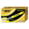 BIC Brite Liner Grip XL Highlighter, Chisel Tip, Fluorescent Yellow Ink, Dozen