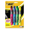 BIC Brite Liner Grip XL Highlighter, Chisel Tip, Fluorescent, 4/Set