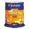 Verbatim DVD-R Discs, 4.7GB, 16x, Spindle, Silver, 100/Pack