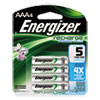 Energizer NiMH Rechargeable Batteries, AAA, 4 Batteries/Pack