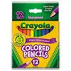 Crayola Short Barrel Colored Woodcase Pencils, 3.3 mm, 12 Assorted Colors/Set