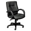 VL690 Series Managerial Mid-Back Leather Chair, Black Leather