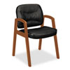 VL800 Series Guest Chair w/Wood Arms, Black Leather/Bourbon Cherry Finish