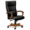 basyx VL844 Series High-Back Swivel/Tilt Chair, Black Leather/Bourbon Cherry