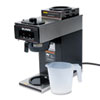 12-Cup Two-Station Commercial Pour-O-Matic Coffee Brewer, Stainless Steel, Black