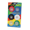"Deco Bright Decorative Tape, 1/8"" x 324"", Red/Black/Blue/Green/Yellow, 6/Box"