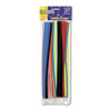 "Jumbo Stems, 12"" x 6mm, Metal Wire, Polyester, Assorted, 100/Pack"