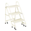 Steel Folding Three-Step Ladder w/Retracting Casters, Beige
