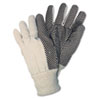 Memphis Dotted Canvas Gloves, White, 12 Pairs