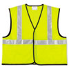 MCR Safety Class 2 Safety Vest, Fluorescent Lime w/Silver Stripe, Polyester, 2X
