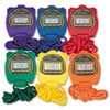 Champion Sports Water-Resistant Stopwatches, 1/100 Second, Assorted Colors, 6/Box