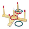 Champion Sports Ring Toss Set, Plastic/Wood, Assorted Colors, 4 Rings/5 Pegs/Set