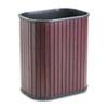 Advantus Rectangular Hardwood Wastebasket, 13qt, Mahogany Stain/Black Liner