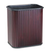 Advantus Rectangular Hardwood Wastebasket, 17 qt, Mahogany Stain/Black Liner
