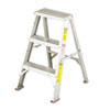 #429 Aluminum Two-Step Stool w/Side Locks, 16-3/8w x 20 Spread x 24h