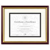 Document/Certificate Frame w/Mat, Laminated Wood, 11 x 14, Mahogany/Gold Leaf