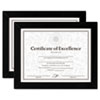 Document/Certificate Frames, Wood, 8-1/2 x 11, Black, Set of Two
