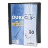 Vinyl DuraClip Report Cover w/Clip, Letter, Holds 30 Pages, Clear/Black