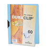 Vinyl DuraClip Report Cover w/Clip, Letter, Holds 60 Pages, Clear/Light Blue