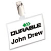 Durable Click-Fold Convex Name Badge Holder, Strap Clip, 3 3/4w x 2 1/4h, Clear, 25/Pk
