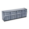 Tilt Bin Plastic Storage System w/4 Bins, 23 5/8 x 6 5/8 x 8 1/8, Black