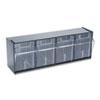 deflecto Tilt Bin Plastic Storage System w/4 Bins, 23 5/8 x 6 5/8 x 8 1/8, Black