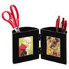 deflect-o Pencil Cup with Photo Frames, 4 dia. x 4, Black