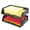 deflecto Industrial Stacking Tray Set, Two Tier, Plastic, Black