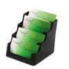 Four-Pocket Countertop Business Card Holder, Holds 200 2 x 3 1/2 Cards, Black