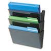 DocuPockets Three-Pocket Wall Set, Plastic, Letter, 13 x 4 x 7, Black