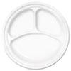 Dart Famous Service Plastic Dinnerware, Plate, 3-Comp, 10 1/4