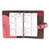 Pink Ribbon Organizer Starter Set w/Leather Binder, 3-3/4 x 6-3/4, Pink/Brown