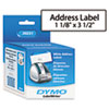 DYMO Address Labels, 1-1/8 x 3-1/2, White, 260/Box