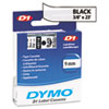 D1 Standard Tape Cartridge for Dymo Label Makers, 3/8in x 23ft, Black on Clear
