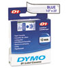 D1 Standard Tape Cartridge for Dymo Label Makers, 1/2in x 23ft, Blue on Clear