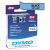 D1 Standard Tape Cartridge for Dymo Label Makers, 1/2in x 23ft, Black on Blue