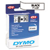 D1 Standard Tape Cartridge for Dymo Label Makers, 1in x 23ft, Black on White