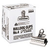 Bulldog Clips, Steel, 1&quot; Capacity, 3&quot;w, Nickel-Plated, 12/Box