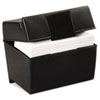 Plastic Index Card Flip Top File Box Holds 400 4 x 6 Cards, Matte Black
