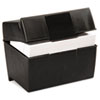 Oxford Plastic Index Card Flip Top File Box Holds 500 5 x 8 Cards, Matte Black