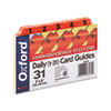 Oxford Laminated Index Card Guides, Daily, 1/5 Tab, Manila, 3 x 5, 31/Set