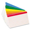 Oxford Color Coded Bar Ruled Index Cards, 3 x 5, Assorted Colors, 100/Pack