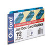 Oxford Laminated Tab Index Card Guides, Monthly, 1/3 Tab, Manila, 5 x 8, 12/Box